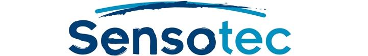 Het logo van Sensotec: de naam in blauwe letters met een grote boog erover, en daaronder vijf icoontjes in verschillende kleuren, die staan voor de activiteiten van Sensotec