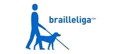 Het logo van de Brailleliga, met een figuurtje dat wandelt met behulp van een geleidehond en een witte stok